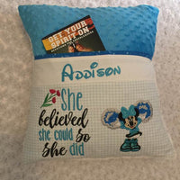 "Minnie Mouse Cheerleader Pocket Pillow Reading Pillow ""She believed she could so she did"" -  Personalized"