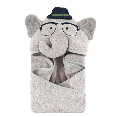 Nerdy Elephant Hooded Towel Bath Wrap Hudson Baby Animal Hooded Towel - Personalized