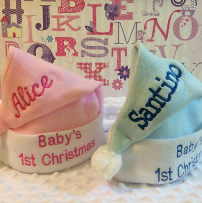 Baby's 1st Christmas Christmas Stocking Cap Santa Hat - Personalized T12