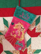 "Barbie 18"" felt Christmas Stocking Plush Cuff - Personalized T4"