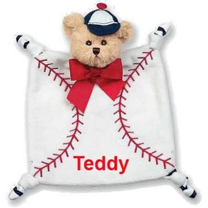 Bearington Baby Collection Wee Lil' Slugger Snuggler Security Blanket Lovey - Personalized