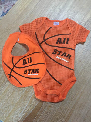 Tender Kisses Orange Basketball All Star Baby Division Bodysuit with Bib