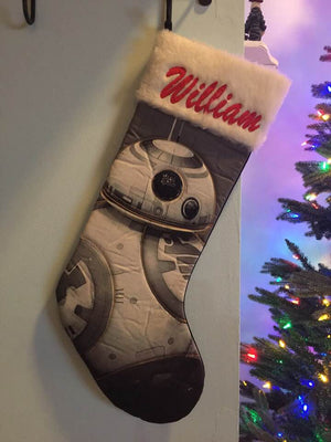 Star War BB8 Droid Christmas Stocking 20 inch Quilted Stocking - Personalized T8