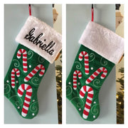 "20"" Appliqued Candy Canes Christmas Stocking Plush Cuff Personalized T17"