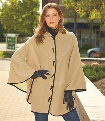 Women's Camel Fleece Hooded Cape Poncho - Personalized