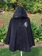 Women's Reversible Black/Silver Hooded Fleece Winter Cape Poncho - Personalized