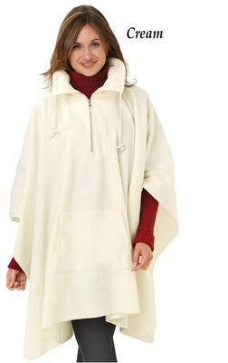 Women's Winter White Fleece Poncho - Personalized
