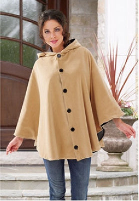 Women's Reversible Black/Camel Hooded Fleece Winter Cape Poncho - Personalized