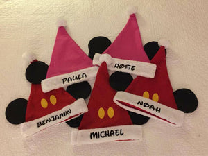 Mickey Mouse Minnie Mouse Santa Christmas Stocking Caps Hats - Personalized T10