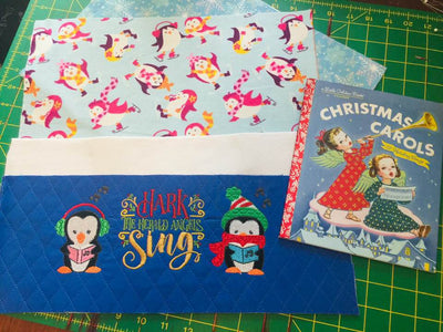 Christmas Penguin Choir Pocket Pillow Reading Pillow Christmas Carols  -  Personalized