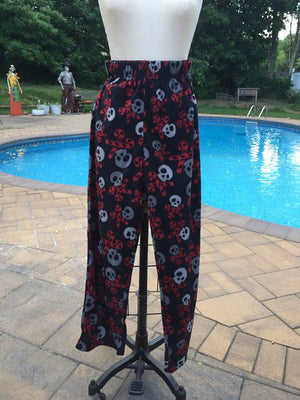Boy's Fleece Pajama Pants - Skulls & Candy Cane Cross Bones Size Med/8 LAST ONE