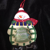 Christmas Ornament -  Ceramic Snowman Ornament Frame