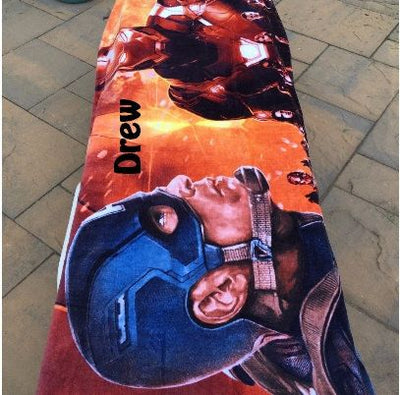 Marvel CIVIL WAR Captain America Iron Man Beach Towel - Personalized