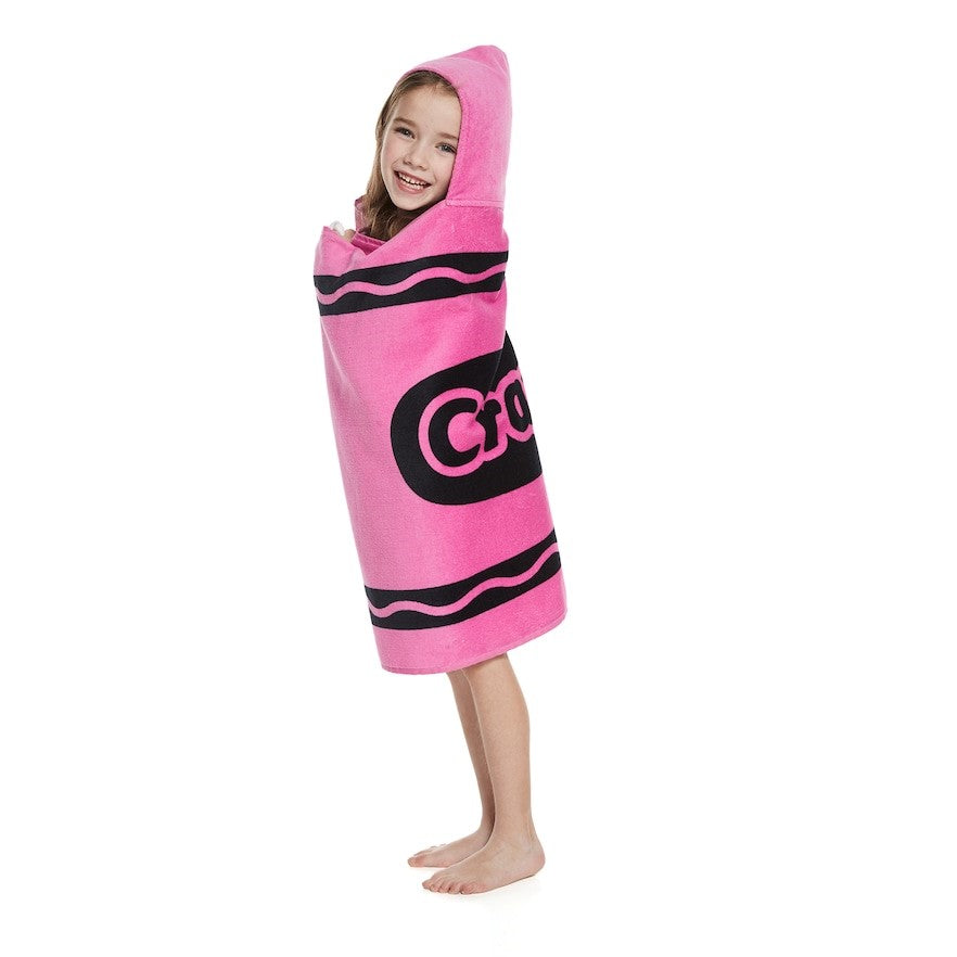 Pink or Blue Classic Crayon Hooded Towel Wrap - Personalized