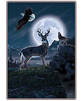 Wildlife Artists Throw Blanket Deer Eagle Wolf - Personalized