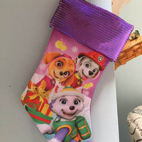 "Paw Patrol 18"" Jersey Christmas Stocking Sequence Cuff - Personalized T19"