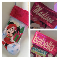 "Minnie Mouse 18"" Pink Jersey Christmas Stocking Sequence Cuff - Personalized T6"