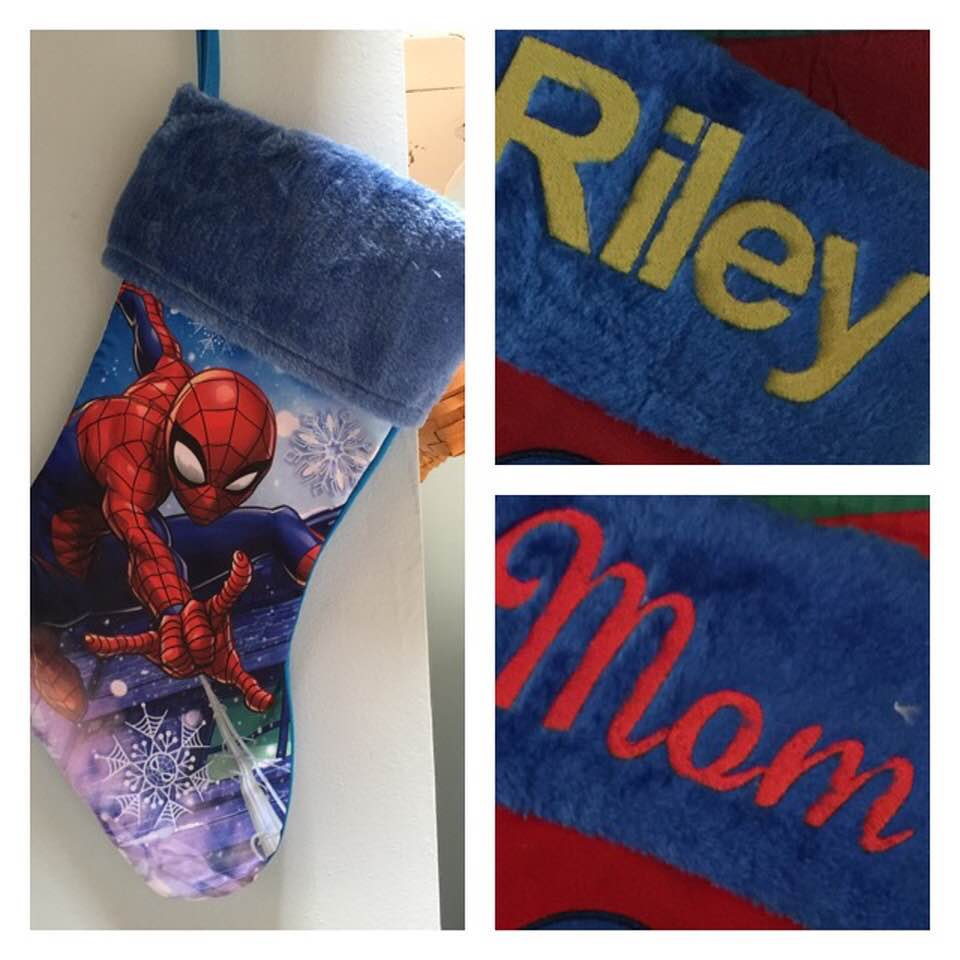 Spiderman Christmas Stocking 18 inch Jersey plush cuff - Personalized T19