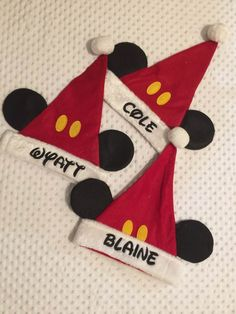 ef6abebf2 mickey mouse minnie mouse santa christmas stocking caps hats personalized  t10