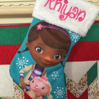 "Doc McStuffins 18"" Jersey Christmas Stocking Plush Cuff - Personalized T4"