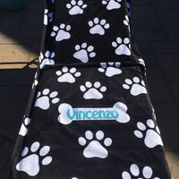 Black & White DOG Paw Print Bone Beach Towel - Personalized - Over Sized