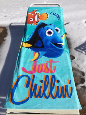 Finding NEMO Finding Dory Just Chillin Towel Personalized Beach Towel