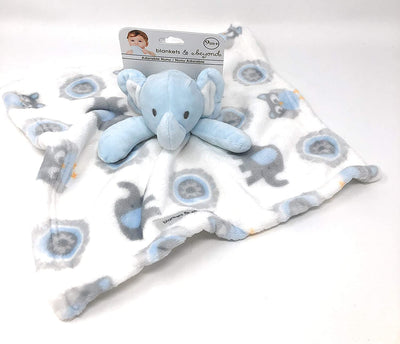 Blankets & Beyond Elephant Lovey Security Elephant Baby Boy Blue and White - Personalized