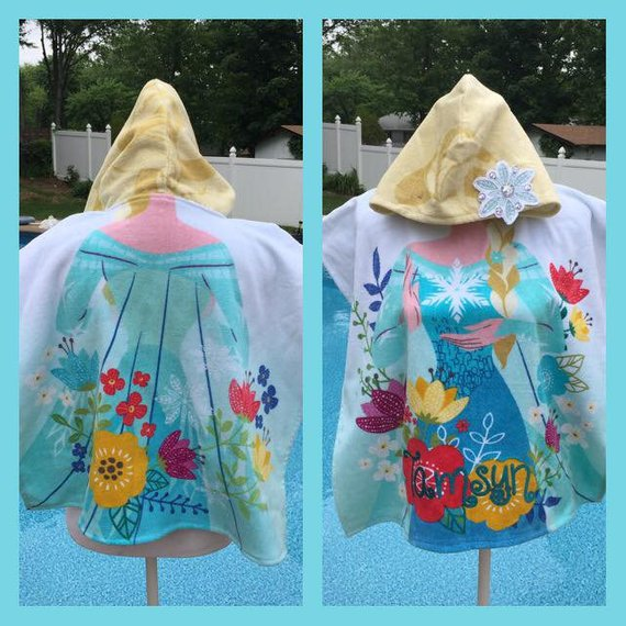 Frozen ELSA Hooded Towel Poncho Bath Beach or Pool Towel - Personalized