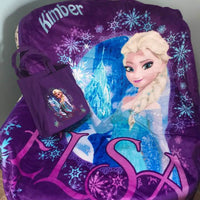 Disney Frozen Elsa 2 Piece Silk Touch Throw & Canvas Tote Set - Purple - Personalized