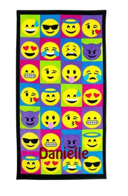 Large EMOJI emojicon Beach towel Personalized or Monogrammed 30