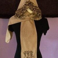 Womens Polar Fleece Hoodie and Scarf Head Wrap and Scarf Hat and Scarf 4 Colors Personalized