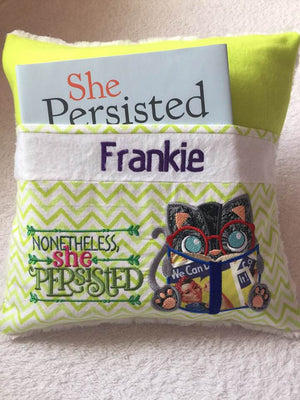 "She Persisted Pocket Pillow Reading Pillow ""Nontheless She Persisted""  Personalized"