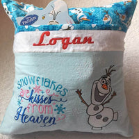 "Frozen Olaf Pocket Pillow Reading Pillow ""Snowflakes are Kisses from Heaven"" -  Personalized"