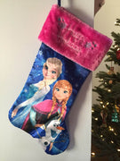 "FROZEN Elsa Anna Olaf 20"" Christmas Stocking Pink Plush Cuff - Personalized - T5"