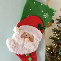 "20"" Appliqued Christmas Stocking Santa with Fuzzy Beard - Personalized T15"