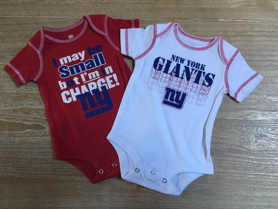 New York Giants 2-piece Baby Creeper Set 0-3 Months