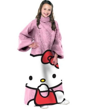 Hello Kitty Youth Comfy Throw, Pink with Sleeves - Personalized