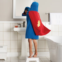 Superhero Hero with Cape Hooded Bath Towel Wrap– Personalized