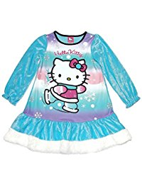 Hello Kitty Girl's Size 6 Blue Crushed Velour Winter Nightgown