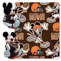 Disney Mickey Mouse NFL Cleveland BROWNS Fleece Throw Blanket & Mickey Hugger - Personalized