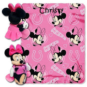 Disney Minnie Mouse NFL Indianapolis COLTS Cheerleader Fleece Throw Blanket & Hugger - Personalized