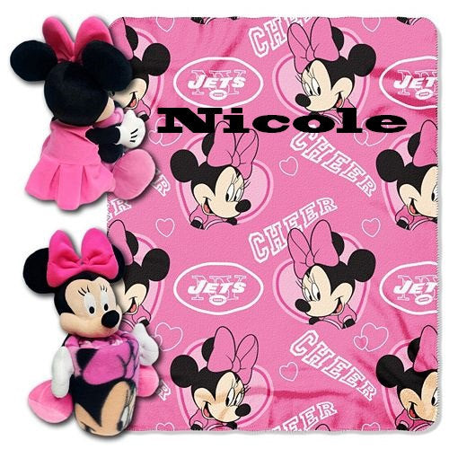 Disney Minnie Mouse NFL NY JETS Cheerleader Fleece Throw Blanket & Hugger - Personalized