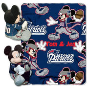 Disney Mickey Mouse NFL New England PATRIOTS Fleece Throw Blanket & Mickey Hugger - Personalized