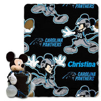 Disney Mickey Mouse NFL Carolina PANTHERS Fleece Throw Blanket & Mickey Hugger - Personalized