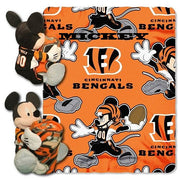 Disney Mickey Mouse NFL Cincinnati BENGALS Fleece Throw Blanket & Mickey Hugger - Personalized