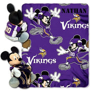 Disney Mickey Mouse NFL Minnesota VIKINGS Fleece Blanket & Hugger - Personalized