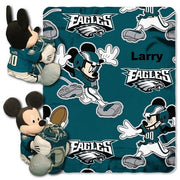Disney Mickey Mouse NFL Philadelphia EAGLES Fleece Throw Blanket & Mickey Hugger - Personalized
