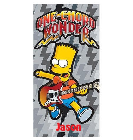 The Simpsons Music Beach Towel, Bart Simpson Personalized