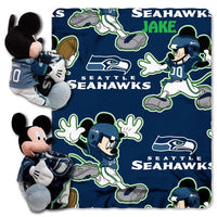 Disney Mickey Mouse NFL Seattle SEAHAWKS Fleece Blanket & Hugger - Personalized