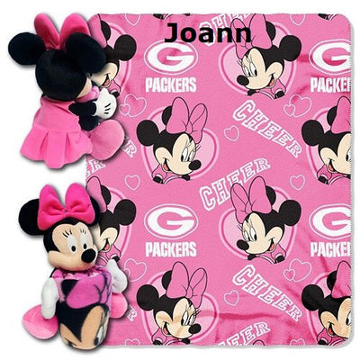 Disney Minnie Mouse NFL Green Bay PACKERS Cheerleader Fleece Throw Blanket & Hugger - Personalized